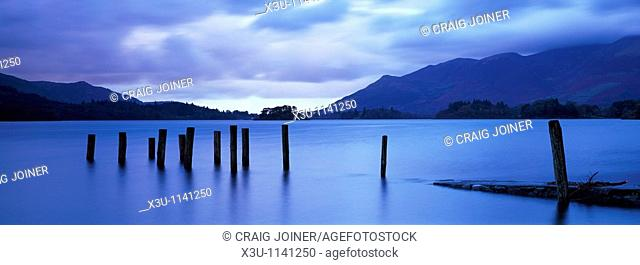 Barrow Bay landing stage underwater due to high rainfall at dusk  Derwent Water in the Lake District National Park near Keswick, Cumbria, England