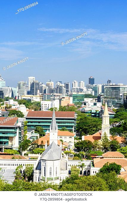 Singapore cityscape views over the old 19th century convent, now CHIJMES and Cathedral of the Good Shepherd