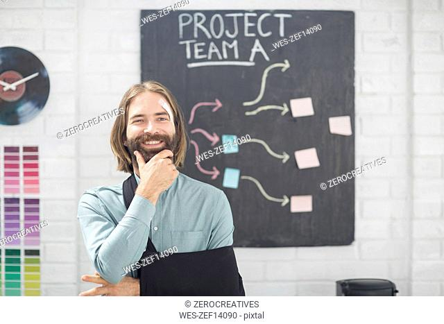 Office employee thinking of team project
