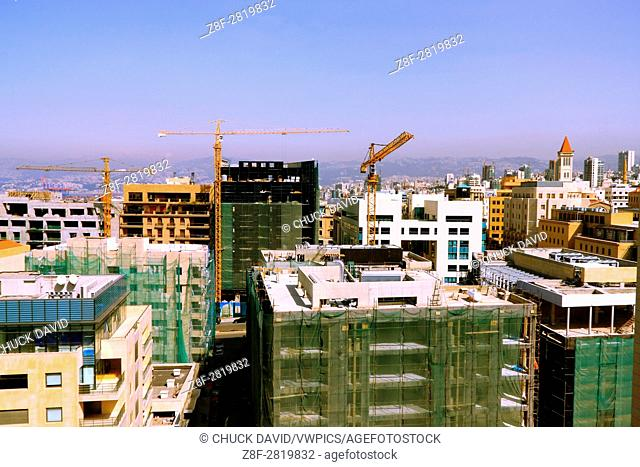 Cranes are busy on the Bierut skyline as reconstrution takes hold in Beirut's historic center after decades of civil war, Lebanon