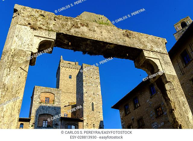 San Gimignano is a small medieval hill town in Tuscany, Italy