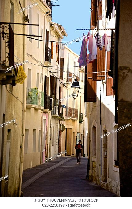 Ancient street, old town, Meze, Herault 34, Languedoc Roussillon region, France