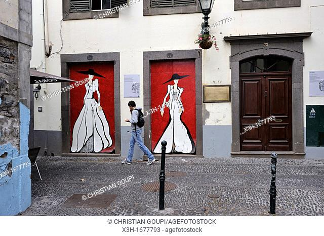 painted doors of Santa Maria street in the old town, Funchal, Madeira island, Atlantic Ocean, Portugal