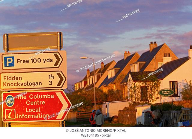 Road sign at Fionnphort, Mull, Inner Hebrides, Argyll and Bute, Scotland, United Kingdom, Europe
