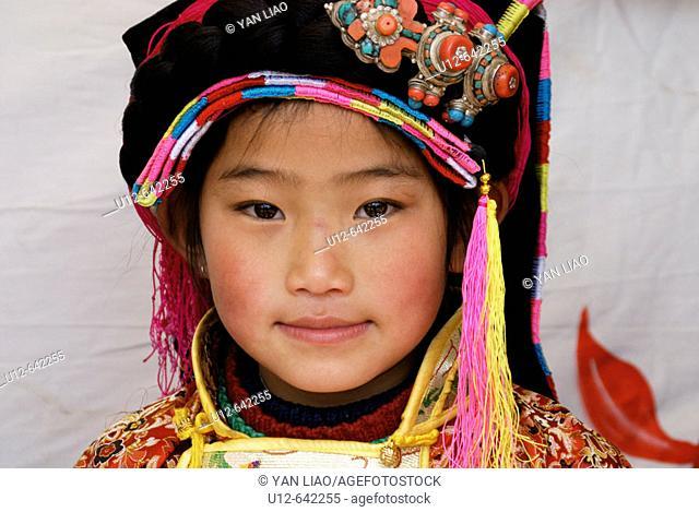Tibetan girl in festival , Danba, Sichuan, China