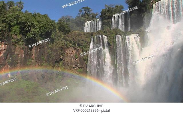 Iguacu Falls with rainbow in foreground