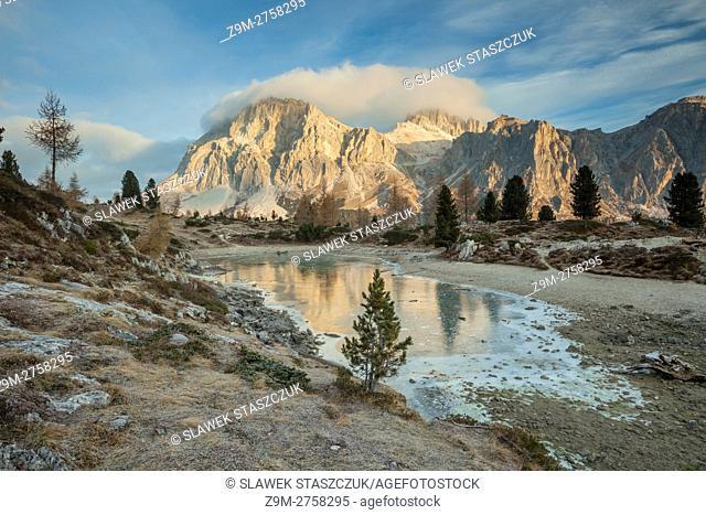 Autumn morning at Limides lake near Cortina d'Ampezzo, Belluno province, Veneto, Italy. Dolomites