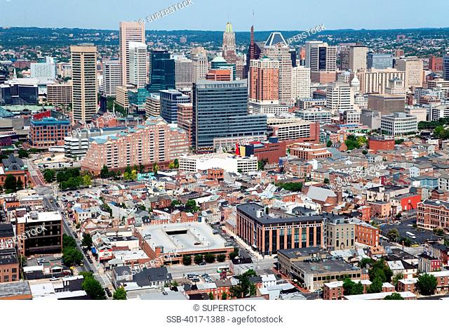 Aerial of the Little Italy district and the Baltimore skyline