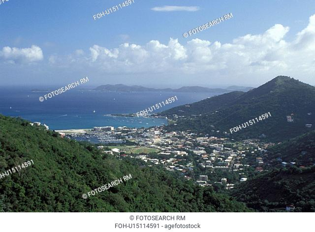 Tortola, Road Town, British Virgin Islands, Caribbean, Road Bay, BVI, Scenic view of Road Town on the island of Tortola on the Caribbean Sea