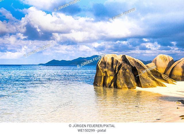 Beach of the Seychelles, Island La Digue, Beach Source d'Argent