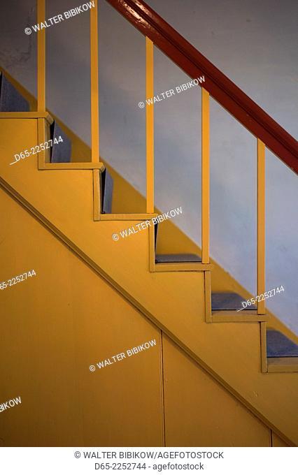 USA, New Hampshire, Canterbury, Canterbury Shaker Village, former Shaker religious community, staircase detail