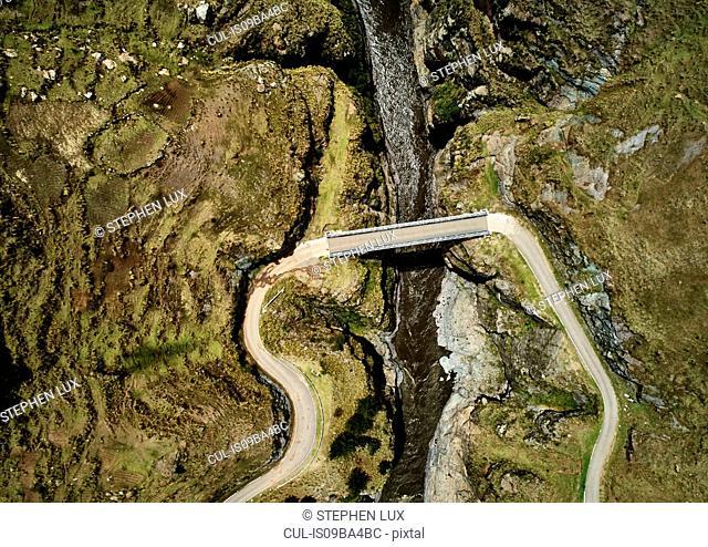 Aerial view of bridge crossing river, Huinchiri, Cusco, Peru