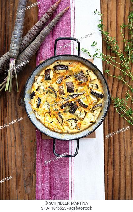 Aubergine and carrot bake