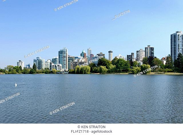 View across Lost Lagoon, Stanley Park, Vancouver, British Columbia