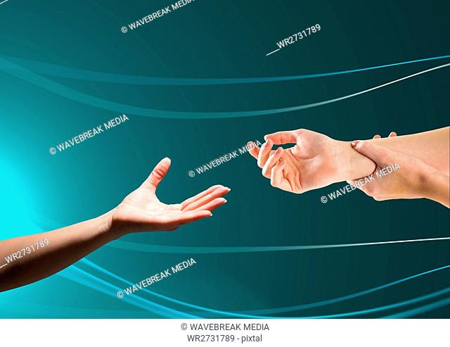Composite image of Hands helping each other against green background