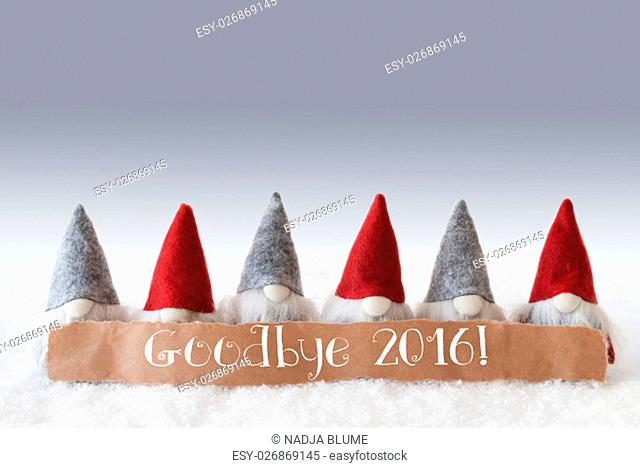 Label With English Text Goodbye 2016 For Happy New Year. Christmas Greeting Card With Gnomes. Silver Background With Snow