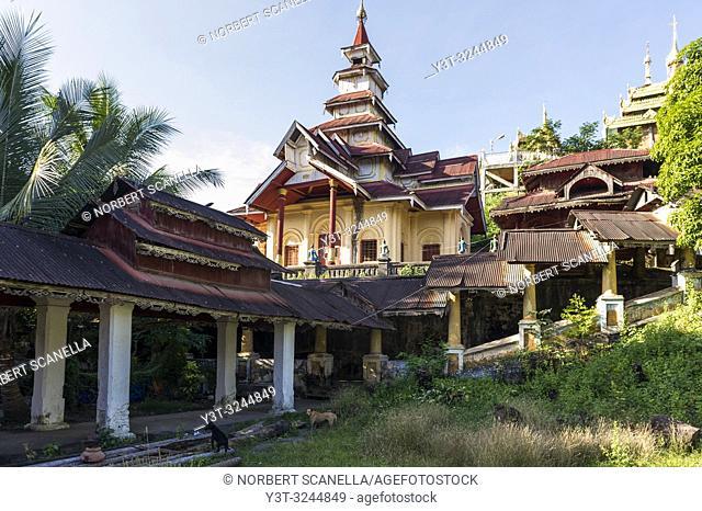 Myanmar (formerly Burma). Mon State. Mawlamyine (Moulmein). Monastery of Kyaung Seindon Mibaya