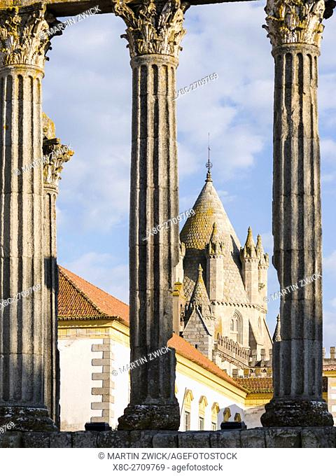 Templo Romano and Cathedral. Evora in the Alentejo. The old town is part of the UNESCO World Heritage. Europe, Southern Europe, Portugal, March