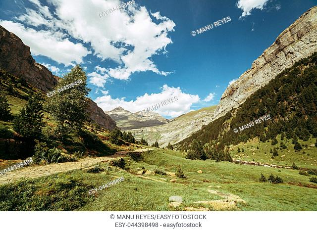 View of Circo de Soaso, Ordesa National Park, Aragon. Pyrenees Mountains, Spain