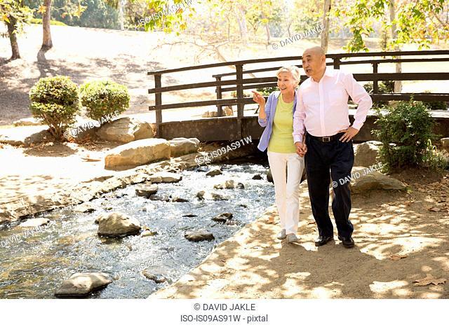 Senior couple standing beside stream