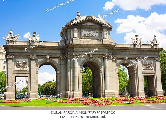 Puerta de Alcala in Madrid in a beautiful summer day, Spain