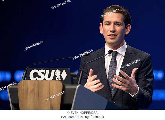 Foreign Minister of Austria, Sebastian Kurz, speaks at the CSU party conference in Munich, Germany, 4 November 2016. PHOTO: SVEN HOPPE/dpa   usage worldwide