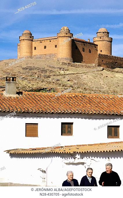 Street and castle, Lacalahorra. Granada province, Andalusia. Spain