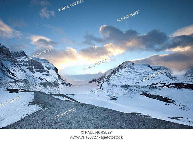 Athabasca and Dome Glaciers at Columbia Icefield at sunset, Jasper National Park, Alberta, Canada
