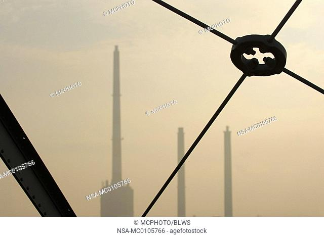 chimneys of power station Simmering, view from the old gasometer