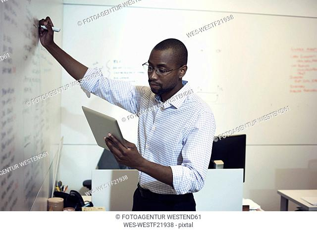 Businessman writing on whiteboard in office