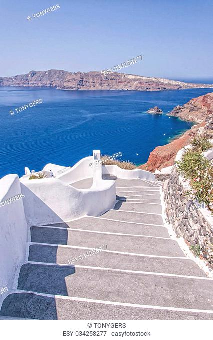 A typical stairway situated in the village of Oia on the greek island of Santorini