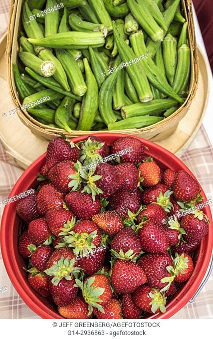 South Carolina, SC, North Myrtle Beach, Little River Farmers Market, fruit, vegetables, okra, strawberries