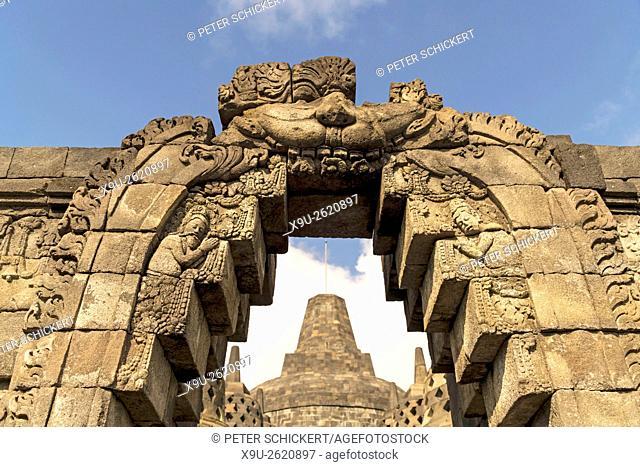 gate to the 9th-century Mahayana Buddhist Temple Borobudur near Yogyakarta, Central Java, Indonesia, Asia