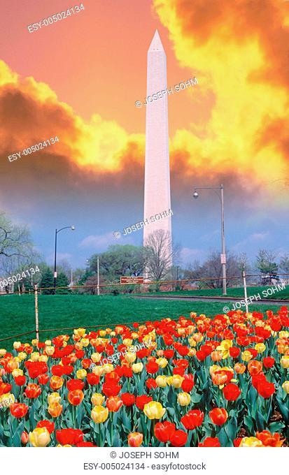 Composite image of Washington Monument and colorful sunrise sky