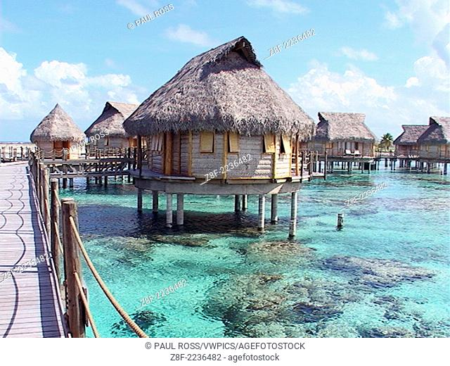 Pearl Beach Resort, rooms on stilts over the lagoon waters of Tikehau Atoll, French Polynesia