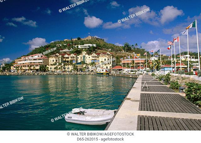 Marigot bay. View towards Fort Louis. Marigot. Saint Martin. French West Indies. Caribbean