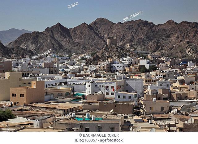 Skyline of Muttrah, Muscat, Oman, Arabian Peninsula, Middle East, Asia