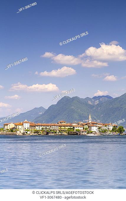 View of the Isola Pescatori from the shore of Baveno in a spring day, Verbano Cusio Ossola, Lago Maggiore, Piedmont, Italy