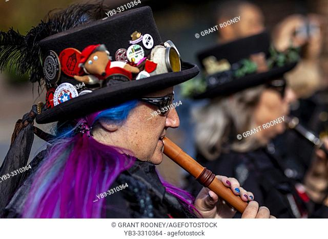Female Morris Dancer Musicians In Costume Play Music During The Annual Lewes Folk Festivalâ. . s Day of Dance, Lewes, Sussex, UK