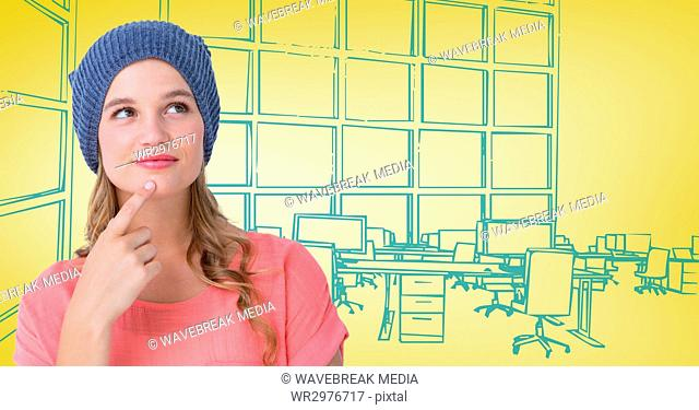 Millennial woman thinking against 3d yellow and blue hand drawn office