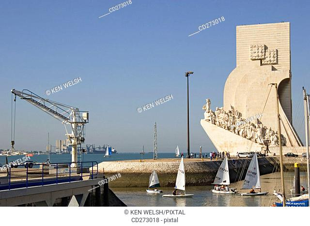 Monument to the Discoveries over Belem harbour, Lisbon. Portugal