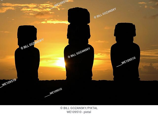 Ahu Tongariki Moai at sunrise - Easter Island, Chile