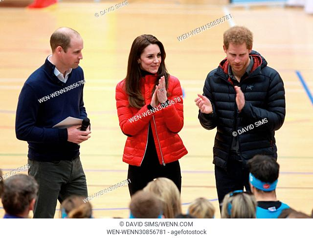 The Duke and Duchess of Cambridge and Prince Harry join a training day with the runners taking part in the 2017 Virgin Money London Marathon for Heads Together