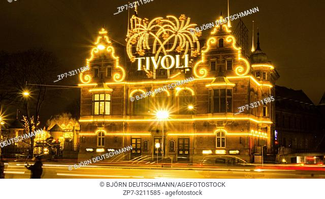 The enlightened Tivoli Garden, Copenhagen, Denmark, during Nighttime and Christmas Time