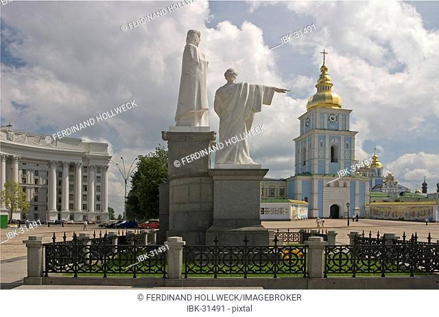 Ukraine Kiev Michael place memorial of Andreas Olga Kyrill and Method with view to Michael monastery the belltower and the Foreign Ministry 1939 historical...