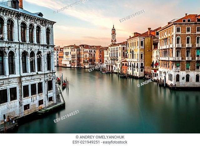 View on Grand Canal and Santi Apostoli Church from Rialto Bridge, Venice, Italy