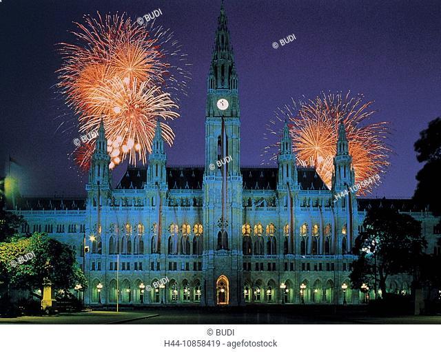 10858419, Architecture, City Hall, Fireworks, Ligh
