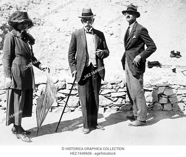 Visitors to the Tomb of Tutankhamun, Valley of the Kings, Egypt, 1923. Left to right: Lady Beauchamp, Sir Edward Beauchamp and Mr BC Beauchamp