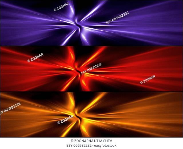 Abstract banners set of colorful rays. High resolution 3D image