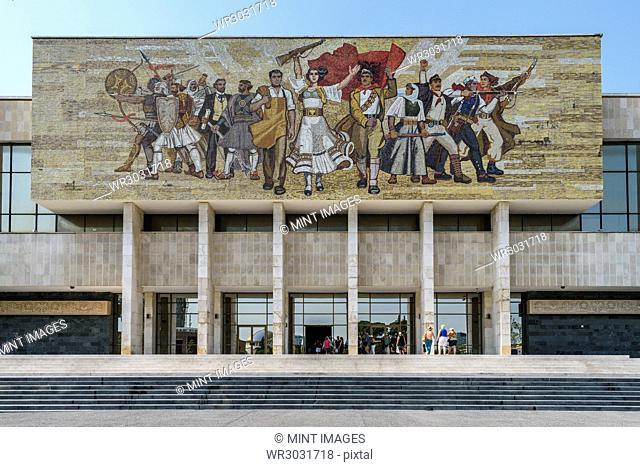 Mural above the entrance at the National History Museum of Albania, by a collective of five Albanian artists in Tirana, Albania